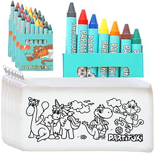 25 Estuches para Colorear Infantiles y 25 Sets de 7 Ceras de Colores Partituki. Con Certificado CE de no Toxicidad. Detalles para Cumpleaños Infantiles