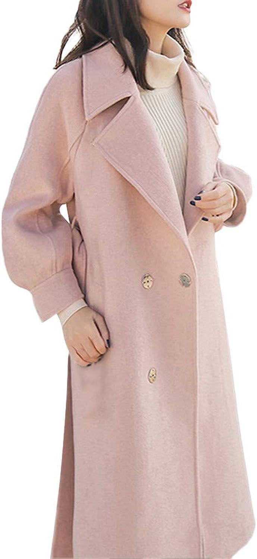 FarJing Womens Coats Womens Lapel Wool Coat Trench Jacket Button Overcoat Outwear