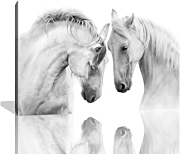 KALAWA Canvas Wall Art Bedroom Black and White Horse Pictures Office Farmhouse Animal Canvas Paintings Bedroom Decorations White Horse Canvas Wall Art Framed Ready to Hang(24''W x 36''H)