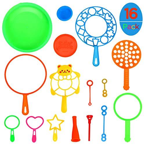 Ucradle Seifenblasen Set für Kinder, 16 Stück Seifenblasenstäbe Blase Zauberstab Seifenblasen Kinder Bubble Maker Spiele für Kindergeburtstag, Party Hochzeit, Sommer Outdoor Spielzeug