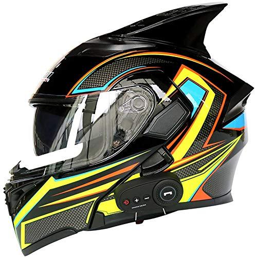 NZGMA Casco Moto Casco integrale modulare Bluetooth integrato Casco da Motociclista, certificazione Dot con doppia visiera Casco integrale da Moto per uomo e Donna Four Seasons D, L = 59~69 cm