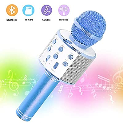 SaponinTree Bluetooth Wireless Microphone Karaoke, 3 in 1 Handheld Portable Speaker Karaoke Machine, Home KTV Player Compatible with Android & iOS Devices.
