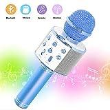 SaponinTree Microfono Karaoke Bluetooth, Wireless Bambini Portatile Karaoke Microfono con Altoparlante per Cantare, Compatibile con Android/iOS o Smartphone .