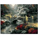 AOlsyh Puente de Arco del Bosque con numeros Pintura de Bricolaje para Lienzo Viene con Pincel y Pintura acrílica. 40x50cm Sin Marco