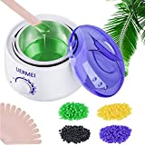 Wax Warmer, Wax Heater Hair Removal Kit with Adjustable Temperature, Built-in Thermo Safety Control and Removable Pot, 4 Different Flavor Hard Wax Beans & 20 Wax Applicator Sticks (Women/Men)