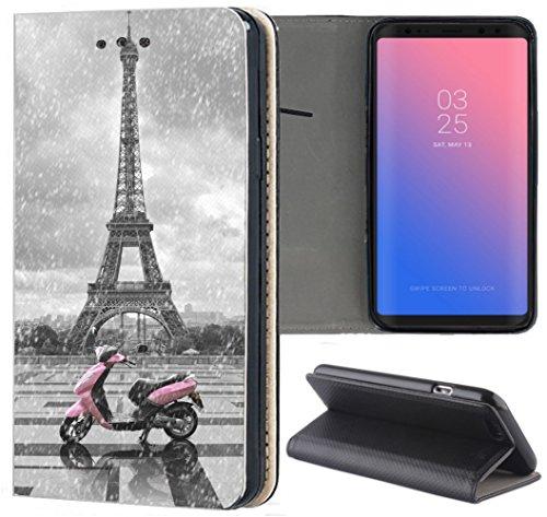 KUMO Hülle für Huawei P30 Lite Handyhülle Bild 1193 Paris Frankreich Eifelturm Roller Rosa aus Kunstleder Schutzhülle Smart Cover Klapphülle Handy Hülle Hülle für Huawei P30 Lite