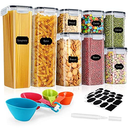 Gifort Contenitori Alimentari per Cereali Set, Contenitori per Cereali Ermetici Senza BPA con Etichette e Cucchiai, Coperchio per Alimenti Set Cereali Perfetto per Cereali,Pasta, Cheerios (8PCS)
