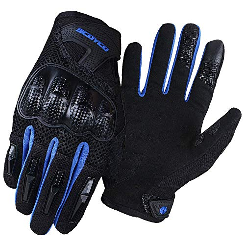 SCOYCO Touch Screen Motorcycle Gloves Reflective Full Finger Gloves for Summer Use Motorbike Gloves for Man (Blue, M)