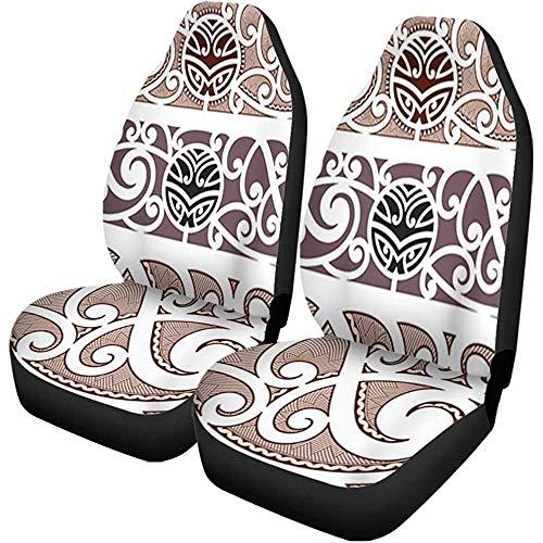 Drivers Seat Cover,Brown Tattoo Maori Styled Pattern Polynesian Tribal Wave Armband Stilvolle Vordere Fahrersitzbezüge 2St
