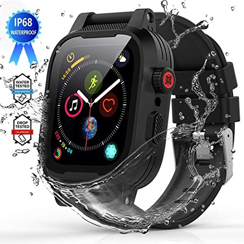 YOGRE Hülle für Apple Watch Series 4/5/6/SE 44mm IP68 Wassserdicht Schutzhülle Series 6 Sport iWatch Series 4 Case mit Armband Robuste hülle für Apple Watch Series 5, Schwarz