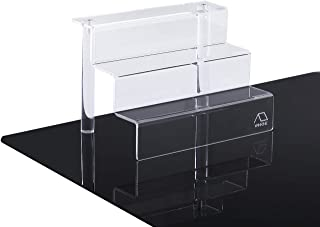 WINKINE 3 Step Clear Acrylic Riser Display Shelf for Amiibo Funko POP Figures, 3-Tier Acrylic Display for Decoration and Organizer, Small(9x6 inch)