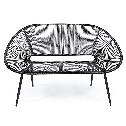 kultliving Retro Lounge Bank Acapulco Mexiko Design Indoor & Outdoor Rahmen & Füße Pulverbeschichtet; Farbe Schwarz All Black