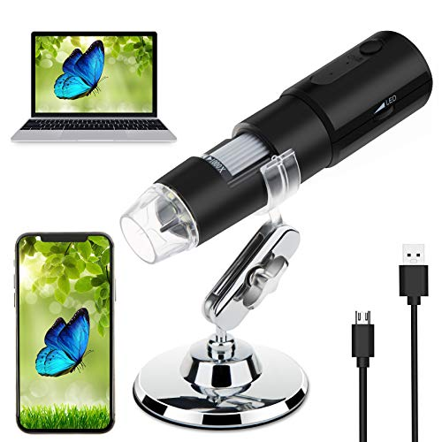 Necesa Wireless Digital Microscope,USB Microscope 50-1000 X Magnification Pocket Handheld Mini Portable WiFi Microscopes Camera for Kid Children Adult