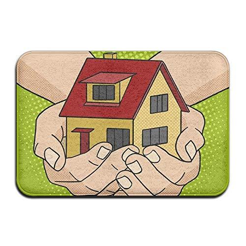 Novelcustom House in Hands Indoor Outdoor Doormats Super Absorbs Mud Dirt Easy Clean Cute Cat Floor Rug Door Mats 15.7\