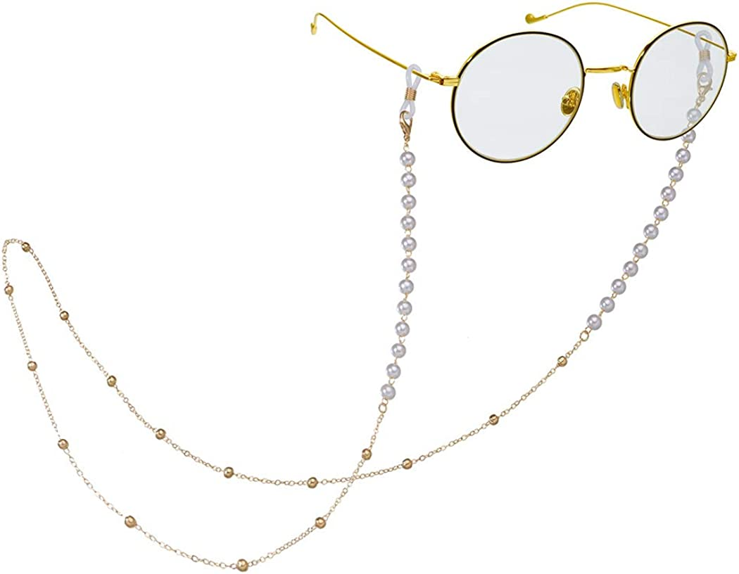Earent Eyeglass Chains Attention brand Gold specialty shop Pearl Sung Beaded Face Lanyards Mask