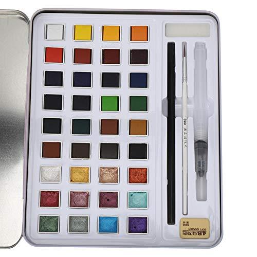 Pintura de acuarela profesional, juego de colores nacarados, brillo fosforescente, pasteles sólidos,...
