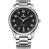 BUREI Men's Date Quartz Wrist Watch with Black Arabic Numbers Analog and Silver Stainless Steel Bracelet