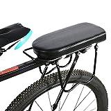 Lantro JS Asiento trasero para bicicleta, cómodo sillín negro para bicicleta, asiento trasero lavable, tienda de reparación de bicicletas para bicicleta (placa de asiento semicircular (negro)