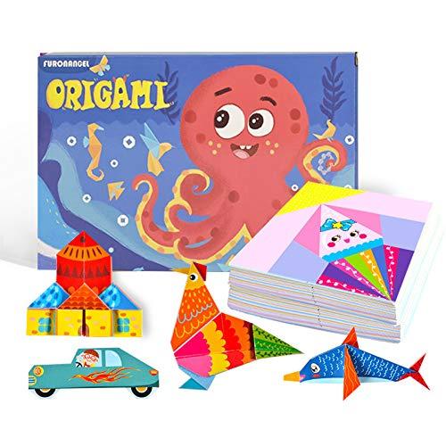 Papel de Origami, 152 Papeles Origami Vibrantes de Dos Caras 72 Proyectos 8 Origami en Blanco Libro de Instrucciones de 80 Páginas Juego de Actividades Regalo Cumpleaños para Niños Principiantes