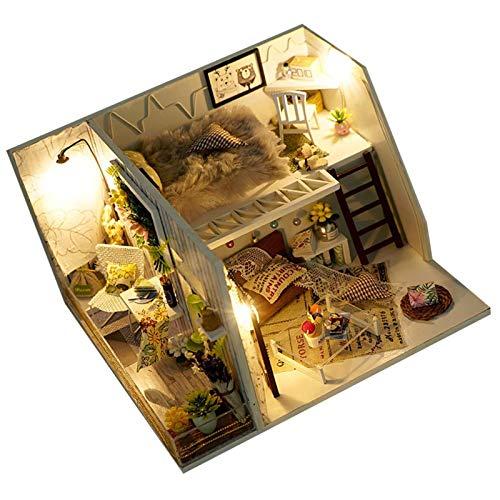 Puppenhaus Kit Holz DIY Häuser für Minipuppen, Handgefertigte Miniatur Villa Haus Kinder montage Mini Haus Raumdekoration Handgefertigte LED Licht Miniatur Home Decor
