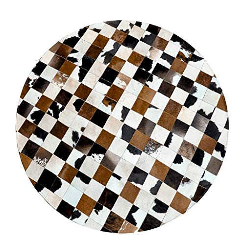N/Z Living Equipment Area s Brown White Round Mosaic Carpet Leather Area Study Living Room Bedroom Coffee Table Mat Water Absorption Non Slip (Size : Diameter 160CM)