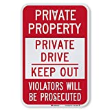 SmartSign Private Drive Sign, Private Property Sign, 12 x 18 Inches 3M Engineer Grade Reflective Aluminum, Weather Resistant