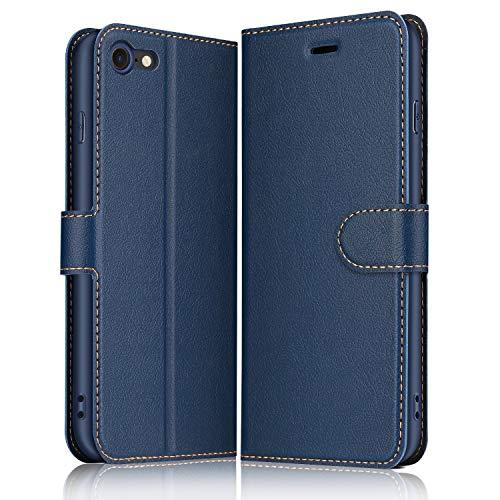 ELESNOW Hülle für iPhone SE 2020 / iPhone 7 / iPhone 8, Premium Leder Flip Wallet Schutzhülle Tasche Handyhülle für iPhone 7 / iPhone 8 / iPhone SE 2020 (Blau)