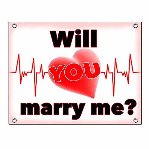 Hochzeitsbanner Hochzeitsplane Heiratsantrag Hochzeitsantrag Laken PVC 1,30m x 1,00m zur Verlobung und zum Antrag