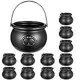 NUOBESTY 12 tazas de caldero negro de bruja, caldero negro para Halloween con asa para suministros de fiesta de Halloween