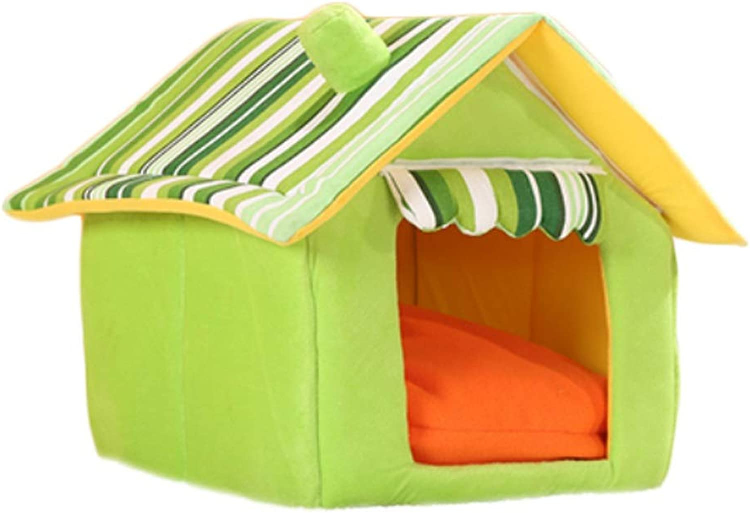 Kennel Small and Medium Dog Pet Nest Mat Cat Litter Winter Washable Dog Bed MultiSize Optional (color   Green, Size   S)