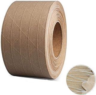 "Reinforced Gummed Kraft Paper Tape, Water Activated Tape, 50 yds Length x 2"" Width, Brown Carton Box Packing,Sealing Fiber..."