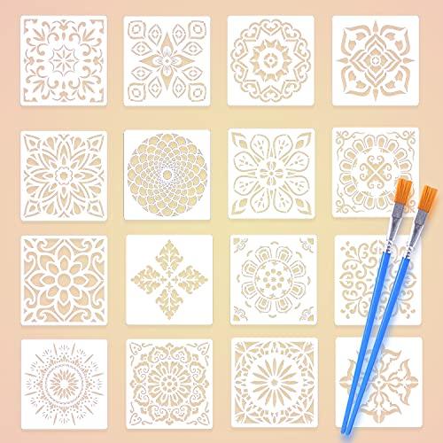 Mandala-Schablonen, wiederverwendbare Schablonen, Mandala-Schablonen, Kunst-Set, Laserschnitt, Malschablonen, DIY Wand, Tür, Möbel, Boden, Scrapbooking, Malschablonen mit zwei Pinseln (15 x 15 cm)
