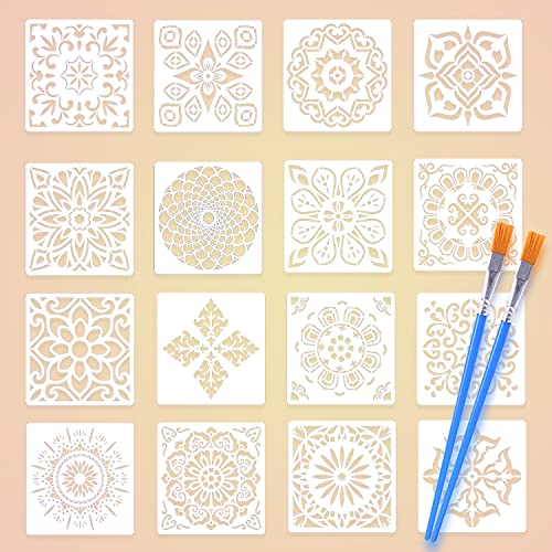 16 Pezzi Mandala Stencil, Riutilizzabili Stencil, Mandala Stencil Art Set, Taglio Laser Pittura Stencil, Fai da te Porta Muro Mobili Pavimento Scrapbook Pittura Stencil con Due Pennelli (15 * 15 cm)