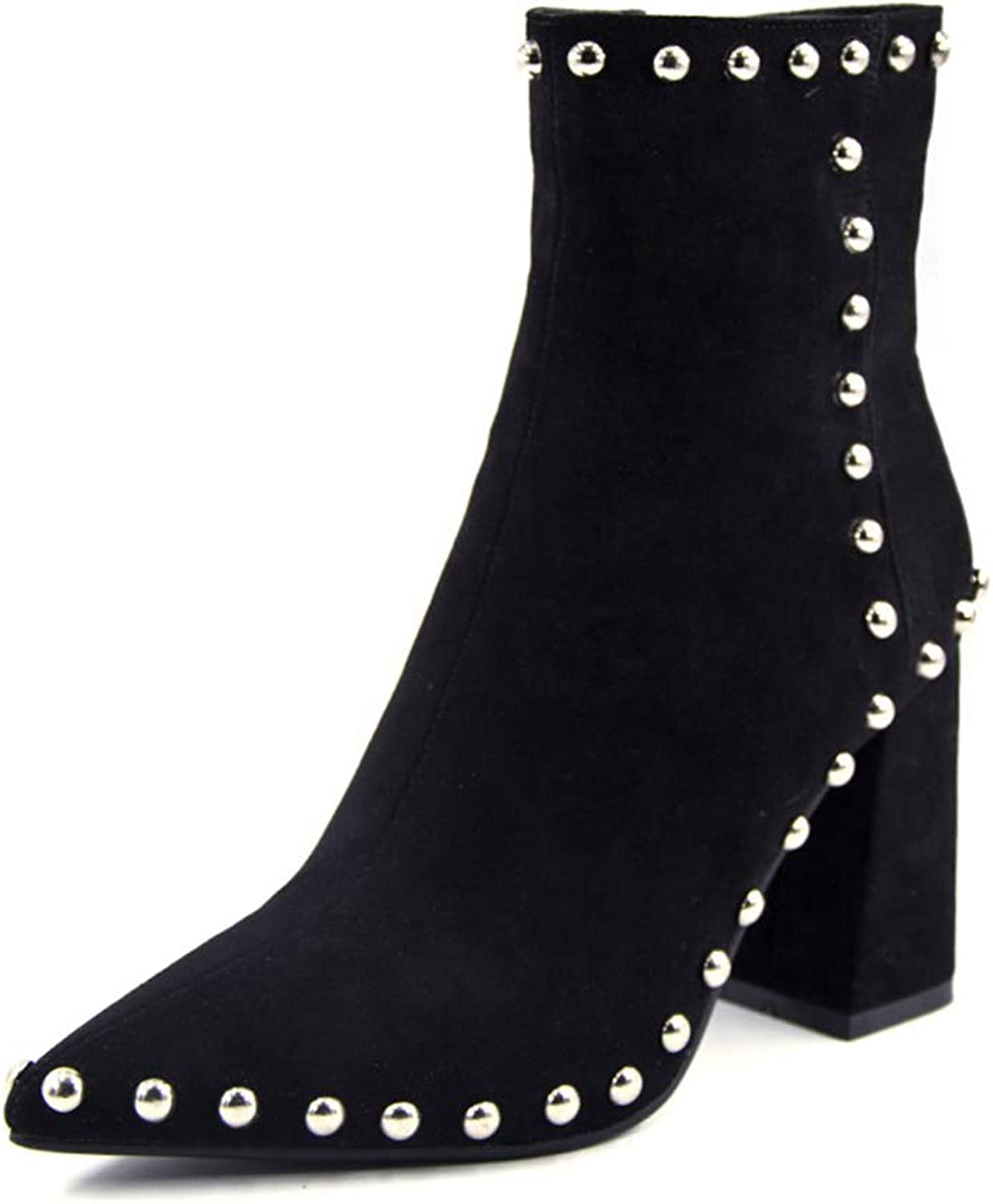 Zarbrina Womens Chunky Heel Ankle Boots Ladies Fashion Round Toe Rubber Sole Short Plush Folck Zipper Up Slip On Winter Party Dress shoes