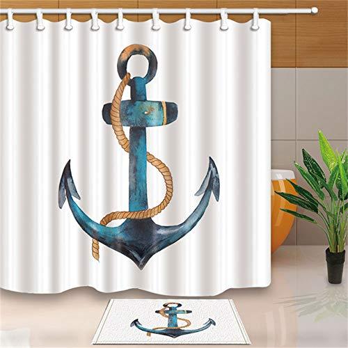 LYDXD 3D Wasserdicht Duschvorhang Boot Anker Seil Streifen Badezimmer Polyester Stoff Und Schimmel Proof 180x240cm
