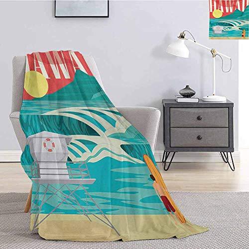 Luoiaax Hawaiian Comfortable Large Blanket Hawaii Sandy Coastline Sunny Day Surfboard Tropics Famous Honeymoon Destination Microfiber Blanket Bed Sofa or Travel W70 x L70 Inch Sand Teal