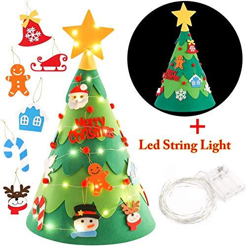 JINKAKA Felt Christmas Tree Set Decorazione della Parete Porta Fai da Te Decorazione di Natale con Ornamenti (3D)