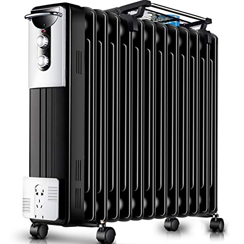 Best Price DW&HX Oil Filled Heater, Quiet Portable Oil-Filled Radiator Electric Overheat Protection Radiator Heater with Adjustable Thermostat -Black