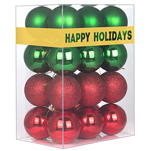 24Pcs Christmas Balls Ornaments for Xmas Tree - Shatterproof Christmas Tree Decorations Large Hanging Ball Red & Green 2.5' x 24 Pack