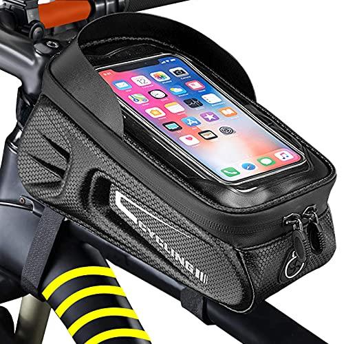 MENQANG Borsa per telaio per bicicletta, impermeabile, accessorio per mountain bike con finestra touch screen per smartphone fino a 6,5 pollici