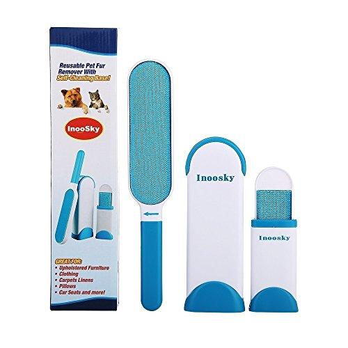 Inoosky Cepillo de Doble Cara con Base de autolimpieza, Elimina el Pelo de Perro o Gato de la Ropa y Muebles (Azul)