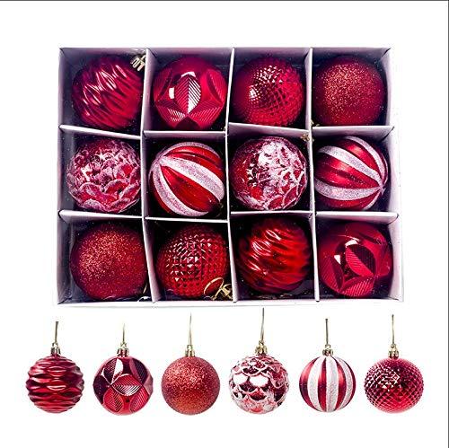 Sunsbell 12 Piezas de Bolas de Navidad Decoración Navideña para Árbol de Navidad/Decoración del Hogar/Boda/Cumpleaños/Fiesta/Caja de Regalo Etc. Rojo-60Mm