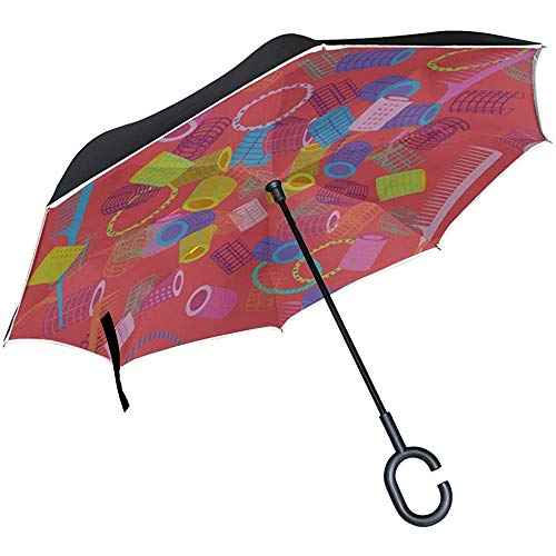 ETGeed Inverted Collapsible Inverted Umbrella Bunter niedlicher Cartoon Schöner Gummi Inverted Umbrella Ausklappbarer Regenschirm