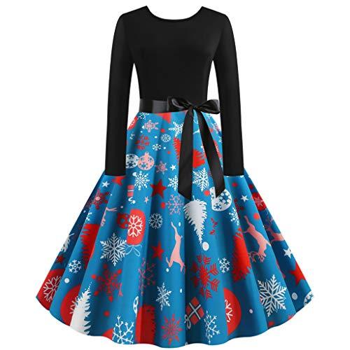 TIMEMEAN Christmas Vintage 1950S Maxikleid Lange Ärmel Sexy Abend Party Abschlussball Kleider Knielang