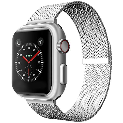 JOMOQ Stainless Steel Strap Compatible for Apple Watch Bands 38mm 40mm 42mm 44mm, Adjustable Metal Loop Replacement Wrist Band for Series 6 5 4 3 2 1 se (silver, 38mm/40mm)