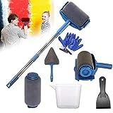 Aoweika 9Pcs Kit de Rouleau de Peinture Multifonctionnel Outils de Peinture de Maison Seamless avec Poignée et Couture Professionnel pour Maison École Bureau