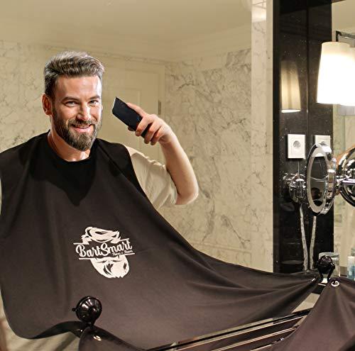 BartSmart Bartschürze | Barthaar-Auffangtuch für Deine Stressfreie Rasur | Mit Beutel | Pflege Deinen Bart ohne Sauber zu machen | Schürze für Barthaare