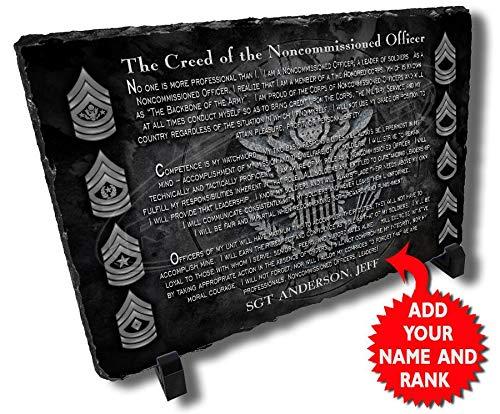 Redeye Laserworks Army NCO Creed Personalized Decorative Stone Plaque.
