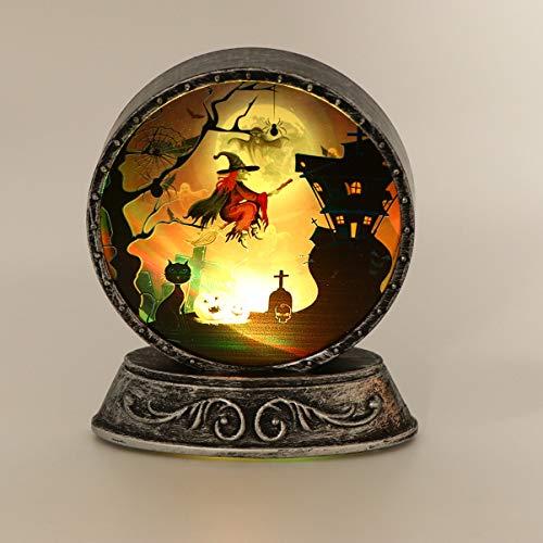 OSALADI Halloween Lichter Hexenmuster Nachtlichter Retro Laterne für Halloween Tisch Ornamente Geschenke Hexe