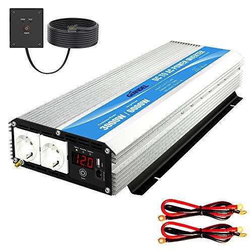 3000W Modifizierter Sinus Wechselrichter 12v auf 230v Spannungswandler Power Inverter mit Fernbedienung & LED-Anzeige 2 AC Verkaufsstellen & USB-Anschluss für Wohnmobil LKW PKW Giandel